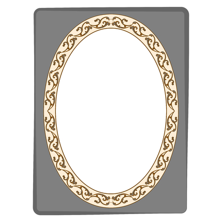 rectangle: Frame oval of twig in rectangle card. Fashion graphic background. Modern stylish abstract texture. Colorful template for prints, textiles, wrapping, wallpaper. Design flat element. Vector illustration Illustration