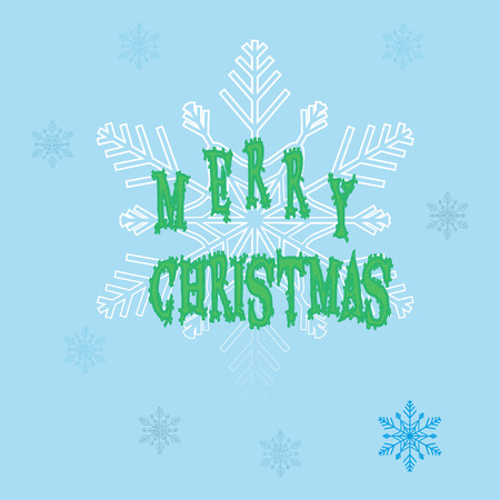 christmas backdrop: Merry Christmas card. Silhouette design blue snowflake and lettering on blue background. Snowflake as symbol of christmas and new year. Template for card, poster. Graphic element. Vector illustration