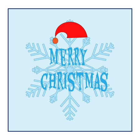 christmas backdrop: Merry Christmas card. Silhouette design blue snowflake, hat Santa Claus and lettering on blue background symbol of christmas and new year. Template for card, poster. Flat element. Vector illustration Illustration