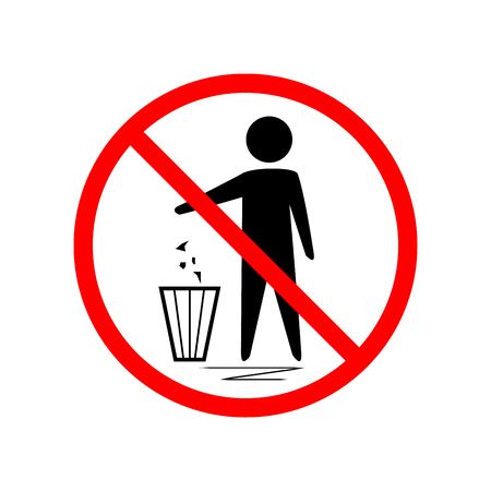Do not litter sign. Silhouette person on white background. No throwing garbage mark in red circle. Take care of clean nature symbol. Colorful template for badge, banner, label. Design flat element. Vector illustration.