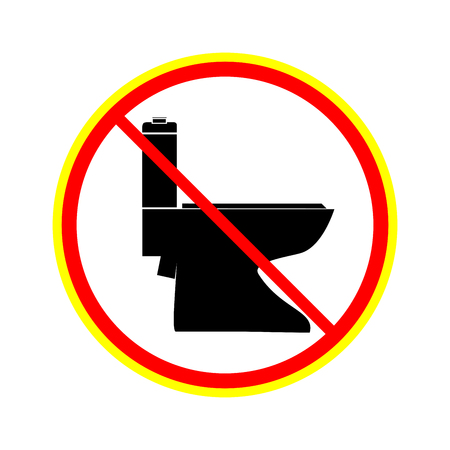 No toilet icon in red circle on white background. Symbol warning no do toilet. Isolated design graphic element. Flat vector image. Template for sign, poster. Design element. Vector illustration. Illustration