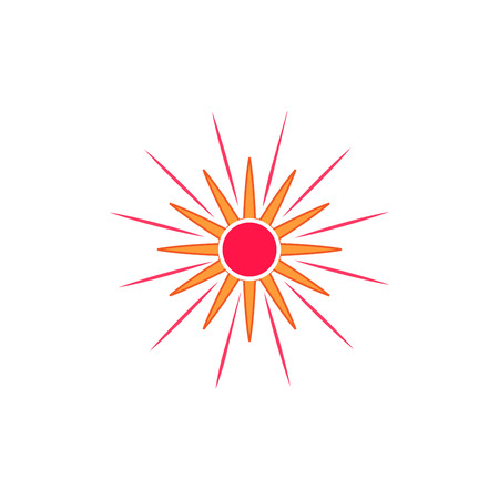 Sun sign on blue background. Sol icon flat, basic symbol. Sticker template for prints, textiles, label, card, poster. Design flat image. Isolated graphic element. Day-star pict ur Vector illustration. Illustration