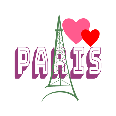 t shirt model: T shirt typography graphic with quote Paris. Fashion print for sports wear. Template for t shirt, apparel, card, poster. Eiffel Tower and heart as symbol of love. Design element. Vector illustration