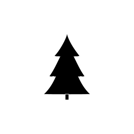 objects: Christmas tree isolated. Silhouette design green spruce on white background. Symbol of winter, decoration, Christmas holiday season. Isolated design graphic element. Flat image. Vector illustration