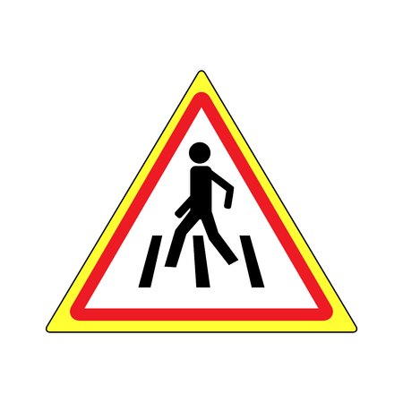 red traffic light: Crosswalk sign black in red triangle. Icon a pedestrian place for child near school. Symbol safety traffic human on road. Label for banner about crossing way. Design element. Vector illustration