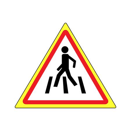 paso de peatones: Signo de cruce de peatones negro en triángulo rojo. Icono de un lugar peatonal para niños cerca de la escuela. Símbolo de tráfico de seguridad humana en la carretera. Etiqueta para pancarta sobre cruce de caminos. Elemento de diseño Ilustración vectorial Vectores