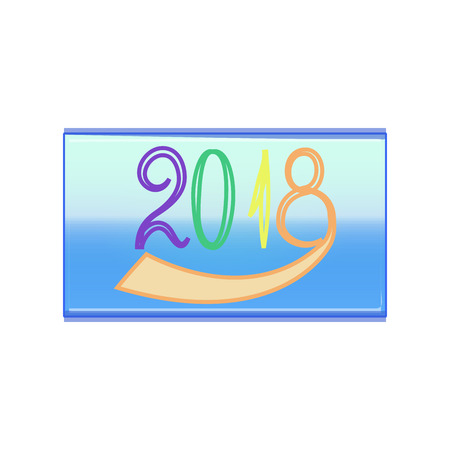 blue background: Colorful line numbers New Year 2018 with outline in blue rectangle on white background. Greeting card. Colorful template for prints, banner, wrapping, etc. Vector illustration Illustration