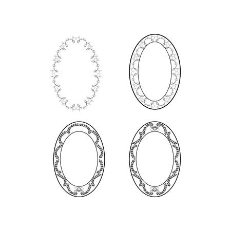 swirl: Frame oval of twig set. Fashion graphic background design. Modern stylish abstract texture. Monochrome template for prints, textiles, wrapping, wallpaper. Design flat element. Vector illustration