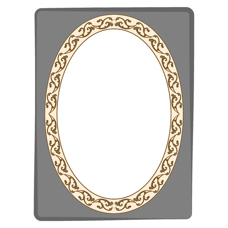 swirl: Frame oval of twig on rectangle card. Fashion graphic background design. Modern stylish abstract texture. Colorful template for prints, textiles, wrapping, wallpaper. Design flat element. Vector illustration Illustration
