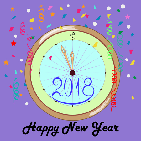 christmas greeting card: Clock with a happy New Year lettering card on lilac background. Fashion graphic background design. Modern stylish abstract texture. Colorful template for prints, card, banner. Vector illustration.