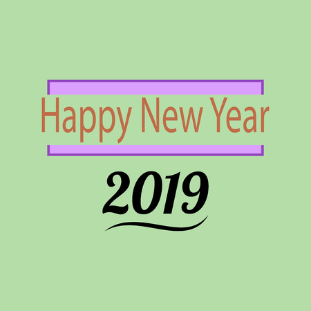 christmas greeting card: Happy New Year 2019 lettering on green background. Fashion graphic background design. Modern stylish abstract texture. Colorful template for prints, card, banner. Vector illustration Illustration