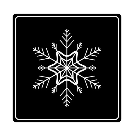 objects: Silhouette white snowflake in black square. Modern stylish abstract texture monochrome template for prints, textiles, wrapping, wallpaper. Isolated design graphic element. Flat vector illustration Illustration