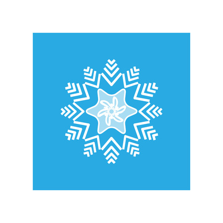objects: Silhouette blue snowflake in blue square. Snowflake icon. Snow flake sign. Symbol of winter, decoration and Christmas holiday season. Isolated design graphic element. Flat vector illustration
