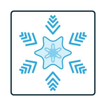 objects: Silhouette blue snowflake on white square. Snowflake icon. Snow flake sign. Symbol of winter, decoration and Christmas holiday season. Isolated design graphic element. Flat vector illustration