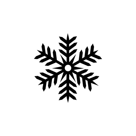 objects: Snowflake isolated. Modern stylish abstract texture. Symbol of Christmas holiday season. Monochrome template for prints, textiles, wrapping, wallpaper. Design graphic element. Flat vector illustration Illustration