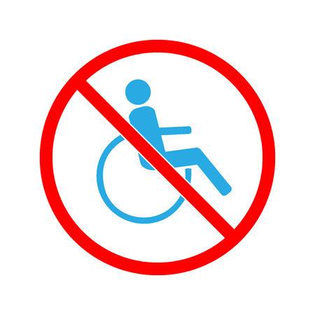 Disabled sign in red circle. Mark disability. Icon a place open passage. Symbol paralyzed and human on wheelchair.