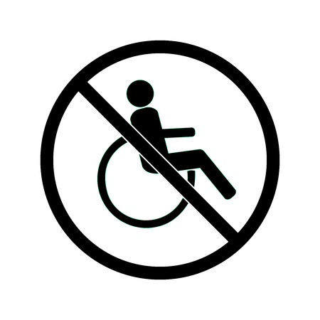 Disabled sign in black circle. Mark disability. Icon a place open passage. Symbol paralyzed and human on wheelchair.