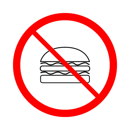 Do not eat black sign in red circle. Icon restriction eating on white background. Illustration