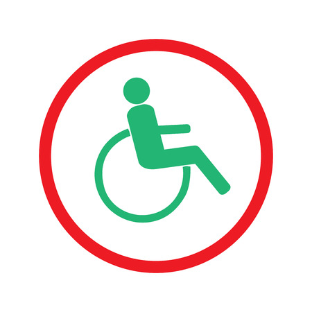 Disabled sign in red circle.