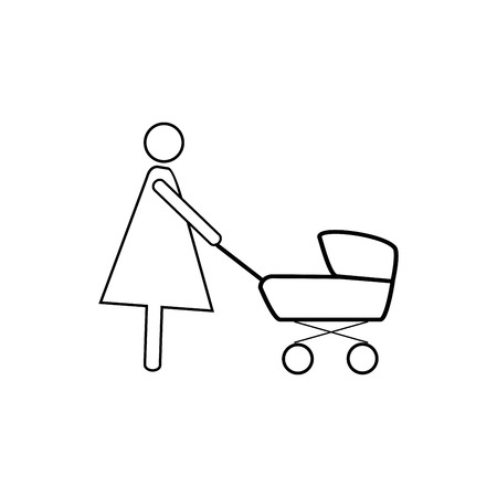 Silhouette mother and baby in stroller in black square icon silhouette mother and baby in stroller in black square icon carriage infant signboard motherhood maxwellsz