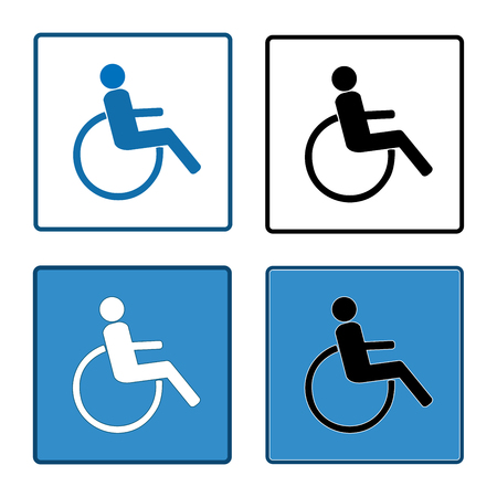 Disabled sign in square set. Mark disability. Icon a place open passage. Symbol paralyzed and human on wheelchair. Safety person warning handicapped illustration. Design element. Vector illustration Illustration