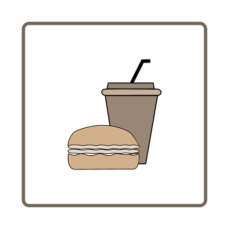 Fast food and drink icon. Silhouette hamburger and cup on white square. Sign meal on white background. Label quickly dinner. Symbol fast food for poster,banner. Design element. Vector illustration.