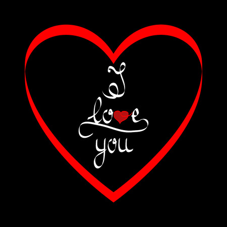 Lettering i love you in red heart on black background card. Fashion print for sports wear. Colorful template for t, textiles, wrapping, apparel, card, poster. Design element. Vector illustration Vettoriali