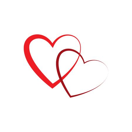 Herz zwei Zeichen. Rote Karte auf weißem Hintergrund. Romantisches Schattenbildsymbol verbunden, beitreten, Liebe, Leidenschaft und Hochzeit. Buntes Kennzeichen des Valentinstags. Gestaltungselement. Vektor-Illustration Vektorgrafik