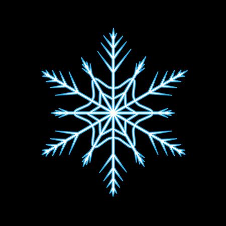 Silhouette blue snowflake on black background. Snowflake icon. Snow flake sign. Symbol of winter, decoration and Christmas holiday season.