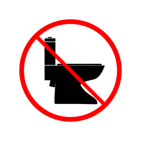 No toilet icon in red circle on white background. Symbol warning no do toilet. Isolated design graphic element. Flat vector image. Template for sign, poster.
