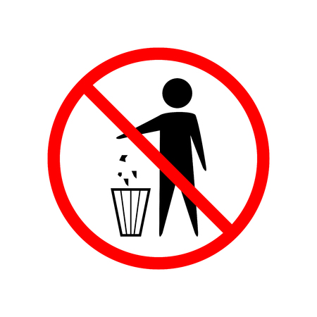 Do not litter sign. Silhouette person on white background. No throwing garbage mark in red circle. Take care of clean nature symbol. Colorful template for badge, banner, label. Illustration