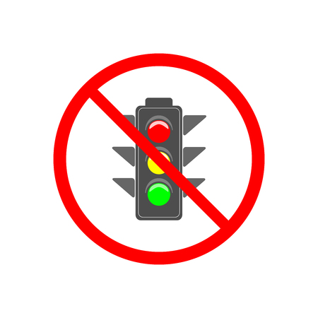 No stoplight sign. Icon traffic lightin red circle. Symbol no regulate movement safety and warning. Electricity semaphore no adjust transportation on crossroads urban road. Flat vector illustration.
