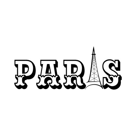 T shirt typography graphic with lettering Paris. Fashion print for sports wear. Monochrome emplate for t shirt, apparel, card, poster. Eiffel Tower symbol of love. Design element. Vector illustration