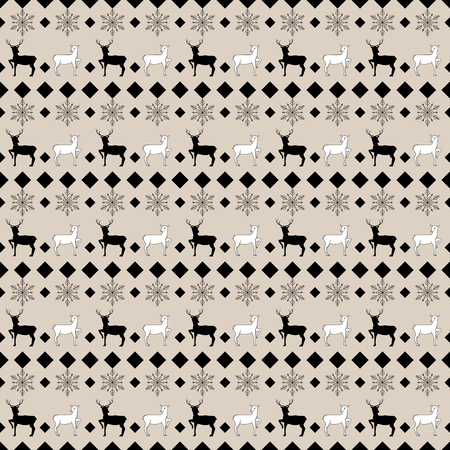 Deer and snowflake seamless pattern. Fashion graphic background design. Modern stylish abstract texture. Monochrome template for prints, textiles, wrapping, wallpaper, etc.