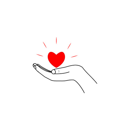 Heart in hand sign. Romantic symbol linked, join, love, passion and wedding. Template for t shirt, apparel, prints, textiles, card, poster. Design element of valentine day. Vector illustration