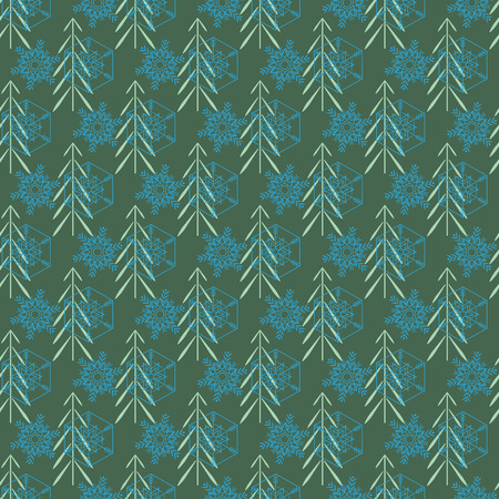 Christmas tree and snowflake seamless pattern. Fashion graphic background design. Modern stylish abstract texture. Colorful template for prints, textiles, wrapping, wallpaper, etc.  イラスト・ベクター素材
