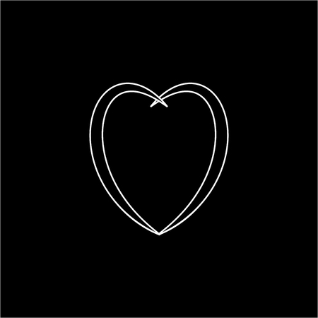 Heart black sign. Icon on white background. Romantic symbol linked, join, love, passion and wedding. Template for t shirt, card, poster. Design flat element of valentine day. Vector illustration. Ilustração