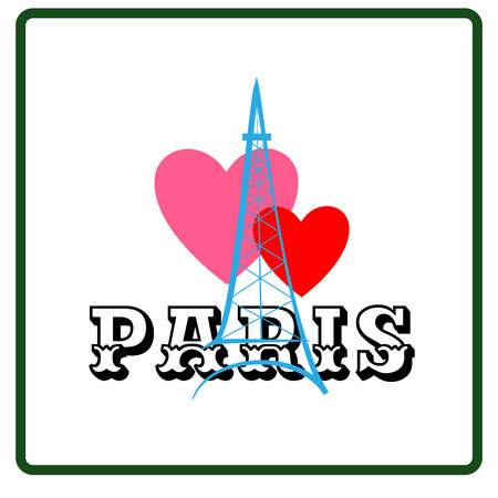 Eiffel tower with two heart and lettering Paris sign. Colorful isolated silhouette. Symbol Paris and love. Template for t shirt, card, poster, etc. Design element. Vector illustration