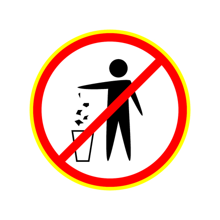 Do not litter sign. Silhouette person on white background. No throwing garbage mark in red circle.