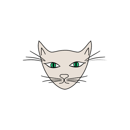Head cat with a green eye on white background. Fashion graphic design flat element.