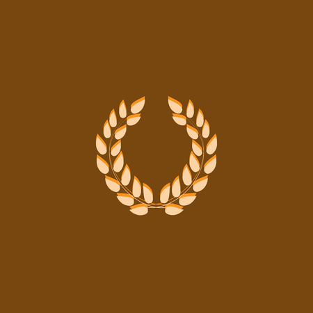 Laurel wreath reward. Modern symbol of victory and award achievement champion. Leaf ceremony awarding of winner tournament. Colorful template for badge, tag. Design element. Vector illustration