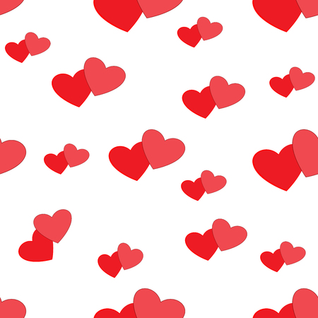 Heart red on white seamless pattern. Fashion graphic background design. Abstract texture of valentines day. Colorful template for prints, textiles, wrapping, wallpaper, website etc.