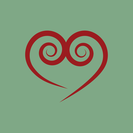 Heart Of Spiral Red On Green Background. Symbol Linked, Join ...