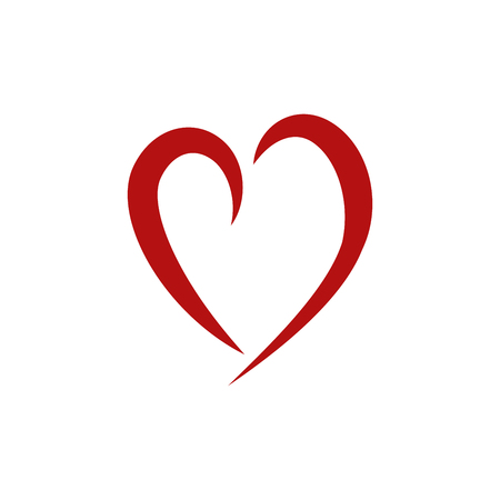 Heart red tick on white background. Symbol linked, join, love, passion and wedding. Template for t shirt, apparel, card, poster, valentine day.