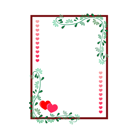 Frame rectangle of twig and heart card. Fashion graphic background. Modern stylish abstract texture. Colorful template for prints, textiles, wrapping, wallpaper. Design element. Vector illustration