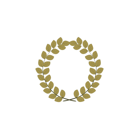 Laurel wreath reward. Modern symbol of victory and award achievement champion. Leaf ceremony awarding of winner tournament. Colorful template for badge, tag.