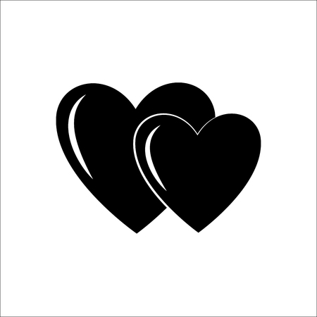 Heart two black on white background. Fashion stylish print for sports wear. Heart as symbol of linked, join, love. Stock Illustratie