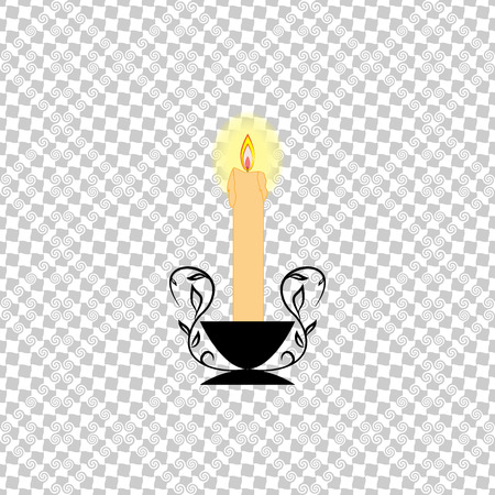 Candle light on gray square. Fashion romantic graphic design flat element. Modern stylish symbol birthday, holiday, romantic dinner. Colorful template for prints, textiles, logo. lllustration Illustration