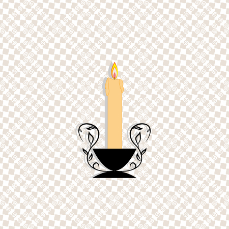 Candle light, fashion romantic graphic design flat element. Modern stylish symbol birthday, love, holiday, romantic dinner. Colorful template for prints, textiles vector illustration.