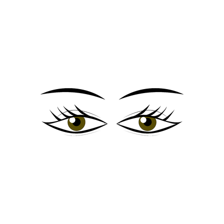 Woman's eyes cartoon sign isolated icon. Fashion graphic design flat element, modern stylish abstract symbol. Colorful template for prints, label, tattoo, sign vector illustration. Banque d'images - 95560966